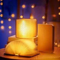Dizeleri Taşınabilir 3 Renk 3D Yaratıcı LED Kitap Gece Işık Ahşap 5 V USB Şarj Edilebilir Katlanabilir Masa Lambası Ev Dekorasyon Işıkları