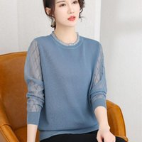 Women's Sweaters Early Autumn Women Clothes Long Sleeve Top Lace O-neck Patchwork Basic Solid Thin Cut Out Knitted Sweater Urban Casual Pull
