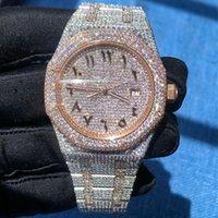 Guarda il quadrante arabo Diamante Diamond Versioni V2 di alta qualità Voce ICED OROLOGIO AUTOMATICO 41mm Argento Rosa oro Due toni Impermeabile 904L Impostato in acciaio inox cz