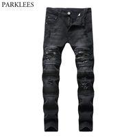 Black Flyny Ripped Biker Jeans Men 2021 Casual Wash Algody Slim Fit Hole Fit Destaced Pants Mens Hip Hop Daño Homme Hombres