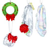 Christmas Gift Box Crystal Rose Dance Shoes Car Hanging Pendant Suncatcher Home Wedding Decoration For Her Decorative Objects & Figurines