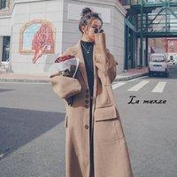 Женские шерстяные смеси элегантные старинные женщины шерстяное пальто 2021 зимние однобортные карманы свободные кашемиры