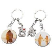 Romantische Sublimation Leeres Paar Keychain Anhänger Wärmeübertragung Herzförmige Schlüsselanhänger DIY EWB7178