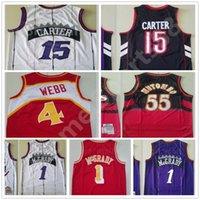Mitchell Ness Basketbol Spud Webb Jersey Erkekler 4 Tracy McGrady 1 Vince Carter 15 Dikembe Mutombo 55 Kırmızı Mor Beyaz Siyah Gerileme Vintage