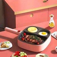 Elektrische Bratpfanne Multifunktions-Non-Stick-rauchloser Ei-Pancake-Steak-Schinken-Kochen Pfannen Frühstückshersteller-Kochgeschirr 3 in 1