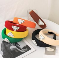 Coreano Moda Letras Imprimir Headbands Designer Invertido Triângulo Engrossado Esponja Penteada Charm Senhoras Meninas Cabelo Hoop Cabeça Acessórios para Mulheres Headdress
