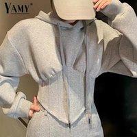Women's Hoodies & Sweatshirts Vintage Women Long Sleeve Top Korean Fashion Pullovers Streetwear Designer Hoodie Fall Tops Gray