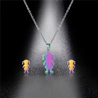 Earrings & Necklace European And American Jewelry Stainless Steel Cut Family Series Pendant Set Fashion Colorful Doll