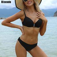 Riseado Push Up Sexy Bikini 2021 Swimwear Women Swimsuit Black Brazilian Biquini Strap Bathing Suit Beachwear Plus Size xxxl Q0520