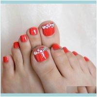 Nails Art Salon Health Beayingholo AB Rhinestones 24pCs Röd Falsk Toenail Tips Ställ franska fulla ER FAKE FEET TOE-spik för DIY Manicure Decor