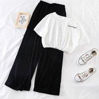 Лето 2 Два куска набор женщин Дрезми Дамские моды спортивные футболки + повседневная широкая нога брюки костюм S118 женские трексуиты