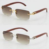 Partihandel Rimless 3524012 Solglasögon bra trä gjorda vintage retro kvinnor trä solglasögon försäljning grön lins storlek 56-18-135mm unisex