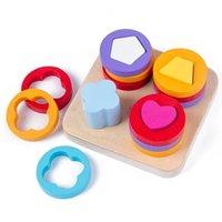 Baby-Gehirnentwicklung Montessori Match Spielzeug Geometrische Sortierplatte Holzkinder Pädagogische Spielzeug Bausteine Q1110
