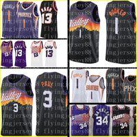 Devin 1 Booker Jersey Chris 3 Paul Jerseys Steve 13 Nash Retro Mesh Basket S-XXL Nero Viola Bianco Mens Bambini