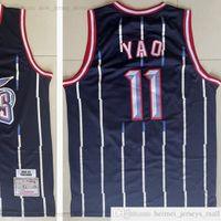 Mitchell and Ness Retro 02-03 Baloncesto Yao 11 Ming Jerseys Top Calidad cosida Vintage 2002-03 Black White Stripe Man Jersey Tamaño S-XXXL