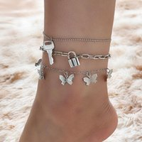 Anklets Creative Butterfly Bracelet On The Leg Lock Key Charm Chain Anklet 3 Pcs set For Women Goth Wedding Harajuku Jewelry