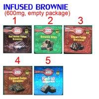 600mg Infundierte Brownie Bites Edibles Verpackung Mylar Taschen Rot Samt Chewy Caramel Funfetti Brownies Schokolade