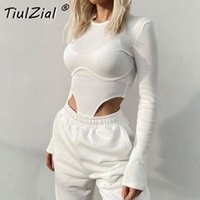 TiulZial O Neck High Waist Sexy Jumpsuits Bodysuit Ribbed Knitted Women Autumn Body Female For Woman Hollow Out Top White Gray Women's Jumpsuit