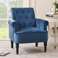Amerikaanse magazijn slaapkamer meubels elegante knop getuft accent fauteuils roll arm woonkamer kussen met houten benen, marineblauw
