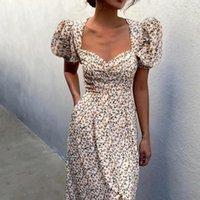 Casual Dresses Beach Split Dress For Womens Retro Floral Print Puff Sleeve Waist Mid-length 2021 Summer V-Neck Midi Long Boho