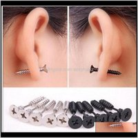 Jewelry Drop Delivery 2021 5 Color 30Pcs Lot Single Fashion Unisex Fine Ear Cuff Stainless Steel Whole Screw Stud Earrings Body Piercing E7Aq