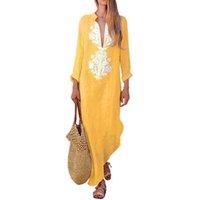 Lasperal Bohemia Maxi платье повседневная рукава V-образным вырезом Женщины свободные партии пляж Sundress длинные халаты туники Kaftan Q190513