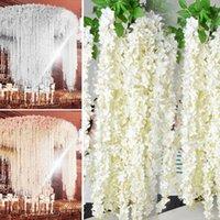 Decorative Flowers & Wreaths 5pcs Beautiful White Artificial Silk Wisteria Hanging Rattan Bride Wedding Garland Vine Ivy Ceiling Decoration