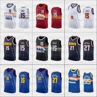 2021 o jersey de basquete 15 jaquic jamal 27 murray homens mulheres juventude branco azul preto vermelho
