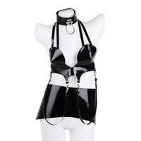 Bras Sets Women Garter Set Lingerie Wet Look Leather Bra Sexy Stripper Outfit Exotic Apparel Night Clubwear Costumes Dancewear