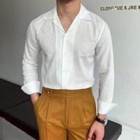 Мужские повседневные рубашки Бизнес-формальное платье рубашка с длинным рукавом мужчины британский стиль все-матч сплошной цвет летнее белье модный синий