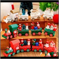 Decorations Intelligence Wooden 3D Iq Puzzle Magic Cube Toy 4Piece Carriage Wood Christmas Xmas Train Ornament Decoration Kids Gift To Etuqt
