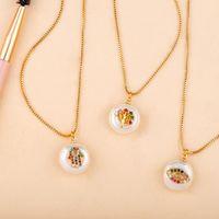 Hamsa Hand Pendant Necklaces Life Tree Gold Color Baroque Pearl Zircon Evil Eye Turkish Luck Charm Statement Necklace Jewelry Women Men