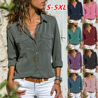 Women Blouses Button 5xl Solid Color 2019 New Long-sleeve Shirt Female Chiffon blouse Women's Slim Clothing blusas feminina