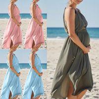 Maternity Dresses Sleeveless Long Strap Pregnancy Dress For Pregnant Women Gown Po Shoot Fashion Loose Skirts