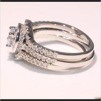 حلقات الزفاف قطرة التسليم 2021 فيكتوريا wieck جودة عالية مجوهرات فاخرة 10kt الذهب الأبيض ملء شكل توباز مهد cz الماس 3 قطع LZ107