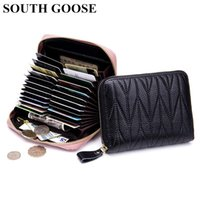 Card Holders Genuine Leather RFID Zipper Holder Men women Large Capacity Organizer Purse Passport Coin Wallets