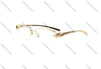 News Fashion Sports Rimless Sunglasses For Mens Womens Leopard Gold Metal Legs Man Woman Buffalo Horn Glasses Sun-glasses Gafas De Sol