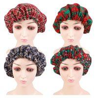 Beanie / Kafatası Kapaklar Kadınlar Güzel Noel Baskı Tasarım Bonnet Saten Çizgili Uyku Gece Kap Kafa Kıvırcık Yaylı Saçlar Için Kapak Şapka