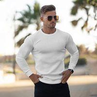 Muscleguys Outono moda fina homens manga longa pulôveres homem o-pescoço sólido fino fit suéteres tricô tops puxar homme