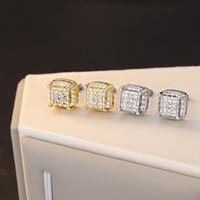 Orecchini quadrati zirconi bianco orecchini per uomo hip hop gioielli vintage moda full pietra giallo oro / argento colore regalo maschile