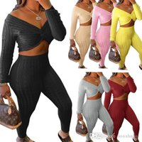 Women Two Piece Sweater Set New Fashion Sexy Kink Top Pants Suit Autumn And Winter Knitting Casual Sportswear Clothing
