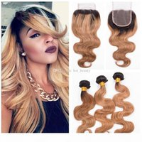 Body Wave Honey Blonde Human Hair Weaves Weaves with Lace Clsoure 2 Tone Root Dark Root 1b 27 Blonde Caphles Bundles con chiusura a pizzo