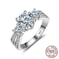 925 Ayar Gümüş Yüzük El Yapımı Üç-Taş Zirkon Taş Kadın Nişan Düğün Moda Takı J-036