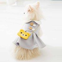 Perro gato princesa primavera verano fino transpirable lindo sin mangas mini vestido ropa de mascota con bolsa de oso cachorro peluche chaleco falda