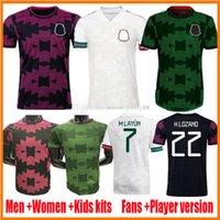2021 Mexiko Fussball Jerseys Frauen Spielerversion Copa America Camisetas 21 22 Chicharito Lozano dos Santos H.Lozano Raul Alvarez Guardado Football Hemden Kinder Kit