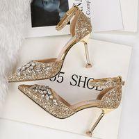 Sandals Women Summer 9.5cm High Heels Crystal Luxury Lady Glitter Bling Pumps Footwear Sequins Wedding Bridal Sandles Shoes