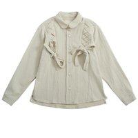 Kadın Bluzlar Gömlek Moda Vintage Tatlı Kadın Bahar Bluz Uzun Kollu Kalın Dantel Up Örgü Yay Tasarım Famale Gömlek Tops Sonbahar 8794