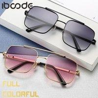 Iboode Square cadre lunettes de soleil mode femmes femmes hommes coloré lunettes lunettes femelle miroir lunettes unisexe gradient gradient uv400 nuances