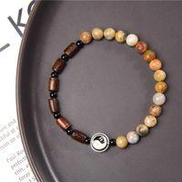 Натуральный 6 мм камень yin yang tai chi шарм эластичный браслет для женщин мужской друг Китай Фэн-шуй повезло ювелирные изделия подарки бисера, пряди