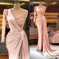 Pink One Shoulder Evening Dress Beaded High Side Split Satin Long Sleeve Mermaid Prom Dresses Custom Made Formal Vestidos De Fiesta